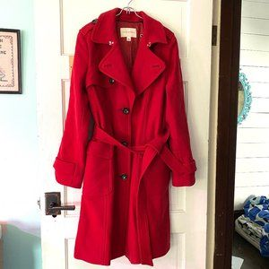 Banana Republic Wool Long Belted Pea Coat L